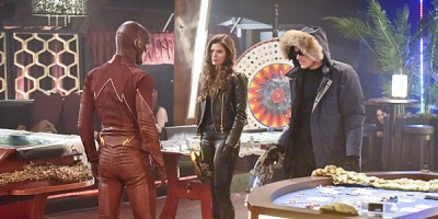 "The Flash -- ""Rogue Time"" -- Image FLA116B_0301b -- Pictured (L-R): Grant Gustin as Barry Allen / The Flash, Peyton List as Lisa Snart, and Wentworth Miller as Leonard Snart/Captain Cold -- Photo: Dean Buscher/The CW -- © 2015 The CW Network, LLC. All rights reserved."